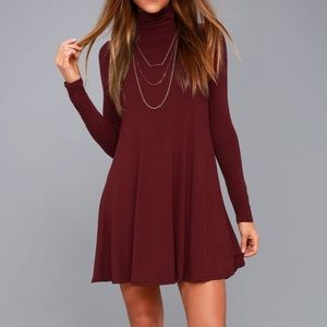 Lulu's Sway, Girl, Sway! Wine Red Swing Dress